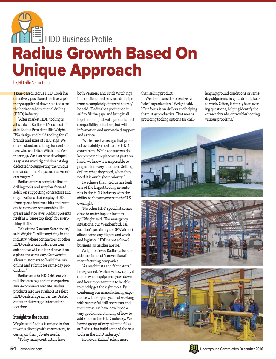 Underground Construction Magazine Features Radius - Page 1